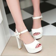 2017 sandals female summer thick heel high-heeled shoes white platform female elegant open toe shoe