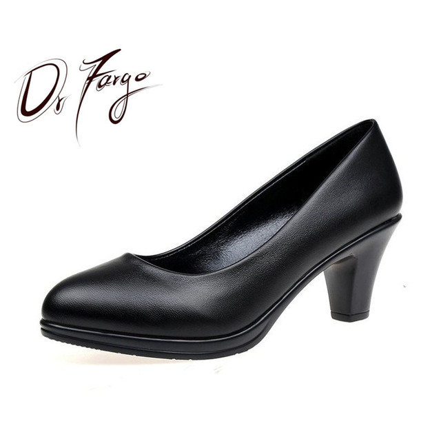 994a1446d79 DRFAROGO Office Lady Worker Shoes Black Classic Med Heel Stable Soft Pump  Women Heels Mattern Patent Leather all match occasions