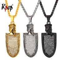 Kpop Faravahar Pendant Necklace with Austrian Rhinestones Stainless Steel Chain Necklace Zoroastrian Jewelry for Men GP638
