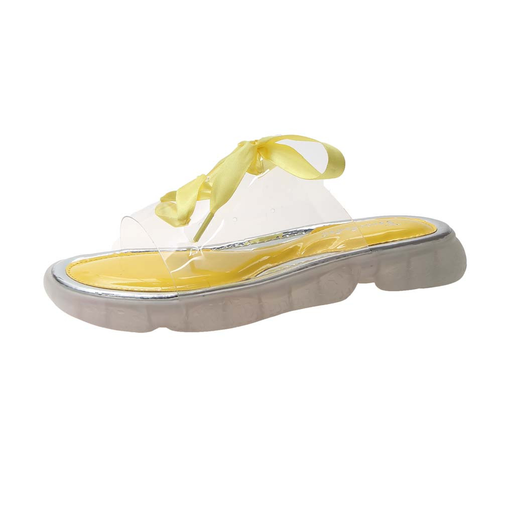 Women Fashion Transparent Slippers Solid Color Ribbon Slippers Casual Slip Open Toe Sandals Non-Slip Flat Beach Slippers Mar 10Women Fashion Transparent Slippers Solid Color Ribbon Slippers Casual Slip Open Toe Sandals Non-Slip Flat Beach Slippers Mar 10