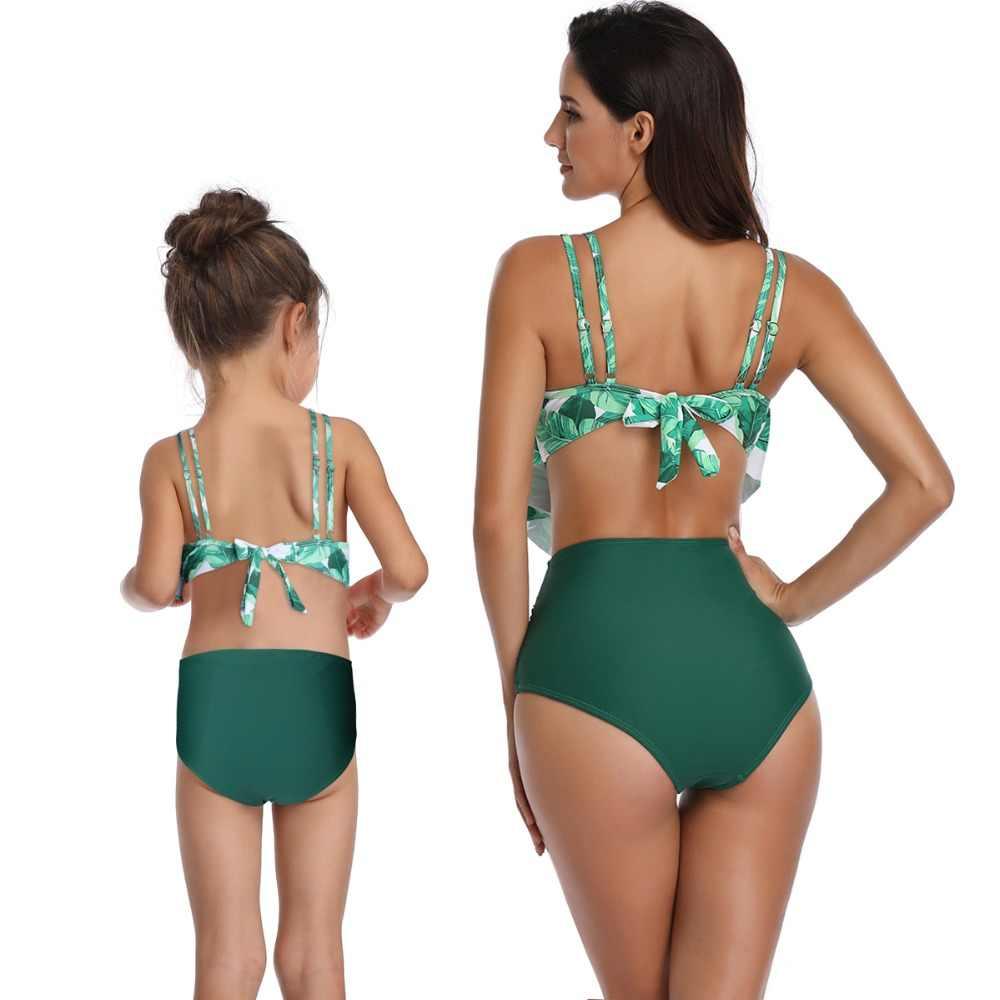 Mẹ con gái đồ bơi eo cao mặc bikini đồ bơi gia đình nhìn mommy and me quần áo mẹ mẹ bé phù hợp với trang phục bãi biển ăn mặc
