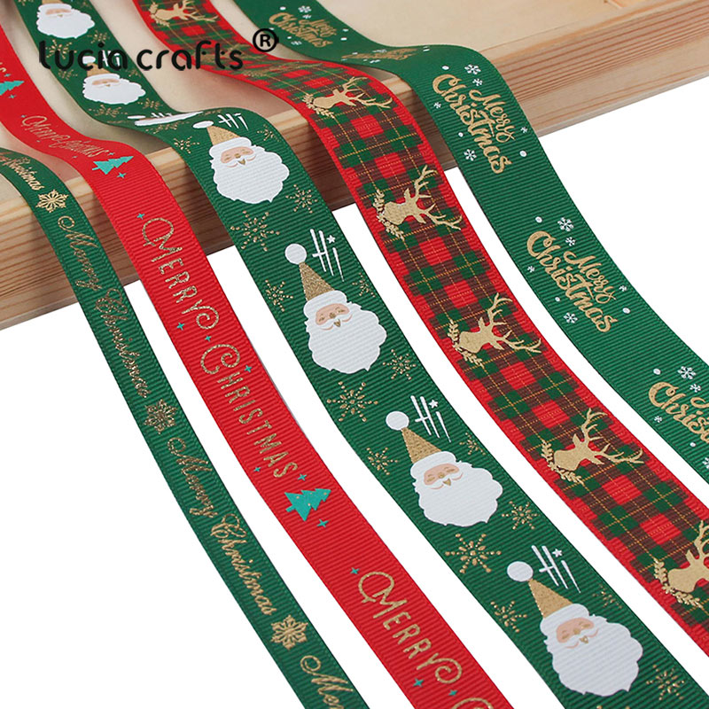 5yards/lot 10mm/15mm/25mm Polyester Printing Christmas Grosgrain Ribbons DIY Xmas Party Wrapping Decor Supplies Material X0203-0