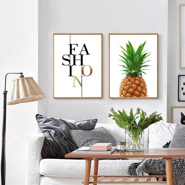 Ananas Druck Stoff, ananas Wandkunst, ananas Poster, großes Plakat ...