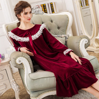 Female Winter Plus Size Home Dress Long Sleeves Plus Velvet Thickened Mink Nightgown Warm Leisure Sweet Sexy Ladies Sleepwear