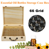 66 Slots Wooden Essential Box Case Oi l Bottles Storage Aromatherapy Wood Display Safely Store Display Transport Essential Oils