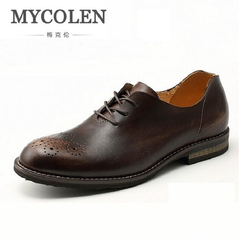 MYCOLEN Handmade Vintage Carved Oxford Shoes Men Genuine Leather Lace-Up Oxfords Men Dress Shoes For Business Wedding 2017 men shoes fashion genuine leather oxfords shoes men s flats lace up men dress shoes spring autumn hombre wedding sapatos