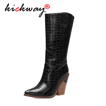 Fashion Knee High Boots Western Boots Square Heels Warm Plush Winter Riding Boots Women Black Silver Shoes Woman Plus Size 34-44