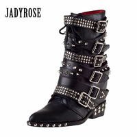 Jady Rose Genuine Leather Women Martin Boots Height Increasing Ankle Boots Rivets Studded Straps Platform Wedge
