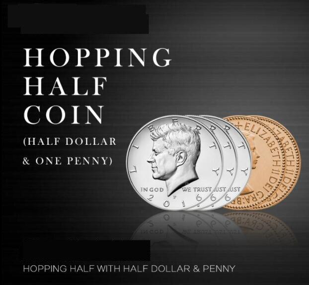Прыжковой половине с расширенные монеты оболочки и английский пенни, фокус, закрыть, весело