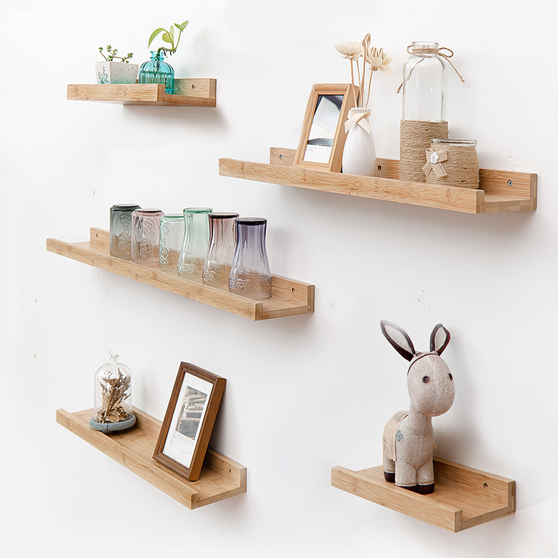Bamboo Wall Storage Rack Partition Shelf Living Room TV Wall Hanging Decoration Frame Bedroom Wall Creative Solid Wood Shelf shelf