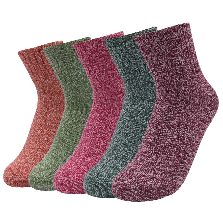 Wool High School Womens Socks Thicker Compression Brand Non-slip High Quality 2017 Winter Fashion Solid Socks 5 Pairs/lot