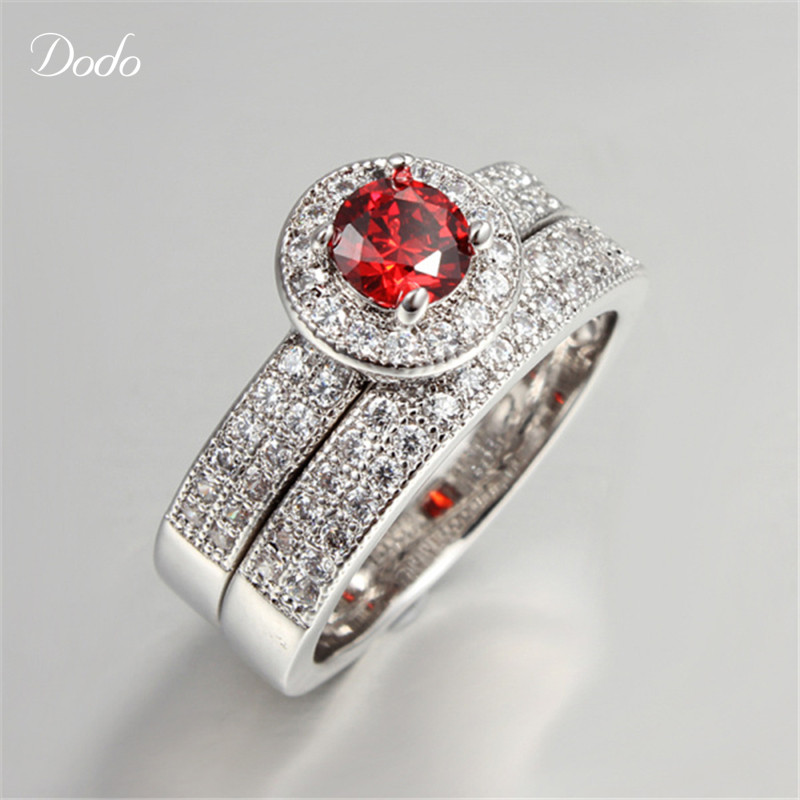 greenbluered stone ring sets s925 sterling silver rings wedding bague for women couple rings for lover accessories bijoux r71 in rings from jewelry - Red Wedding Rings