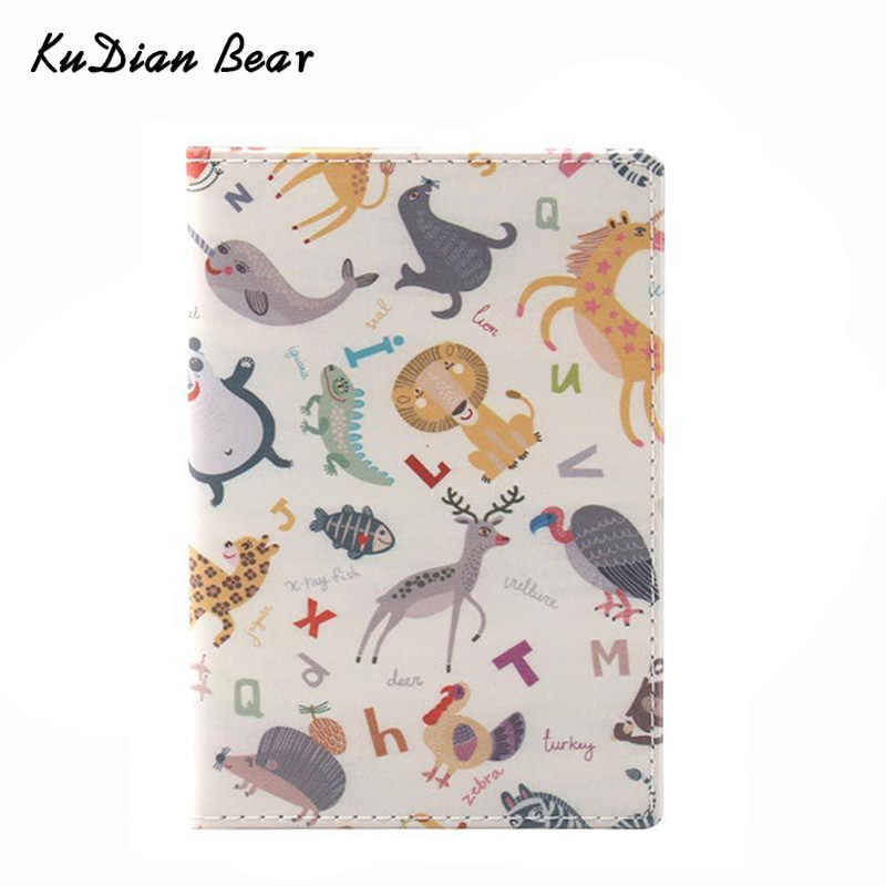 KUDIAN BEAR Cute Passport Cover Women the Cover of the Passport Holder Designer Travel Cover Case Credit Card Holder BIY044 PM49