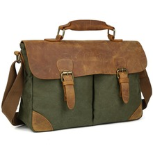 TIDING 2016 Spring Canvas Messenger Bags For School Vintage Leather Canvas Satchel Green Blue Brown Grey 1157