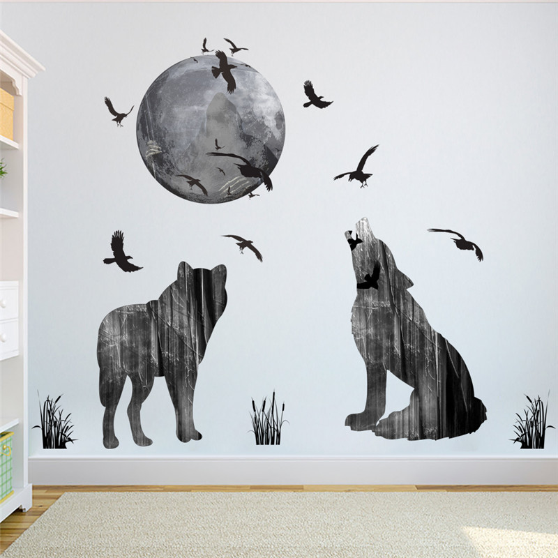 horrifying dark ghost forest wolf crow wall stickers home decor living room pvc halloween wall decals diy mural art posters - Halloween Wall Mural