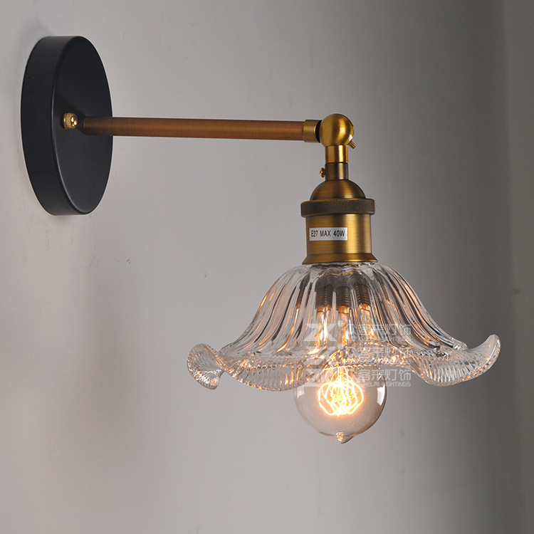 Wholesale Price Loft Vintage Industrial Edison Wall Lamps Clear Glass Lampshade Antique Copper Wall Lights E27 For Bedroom wholesale price loft vintage industrial edison wall lamps clear glass lampshade antique copper wall lights 110v 220v for bedroom href
