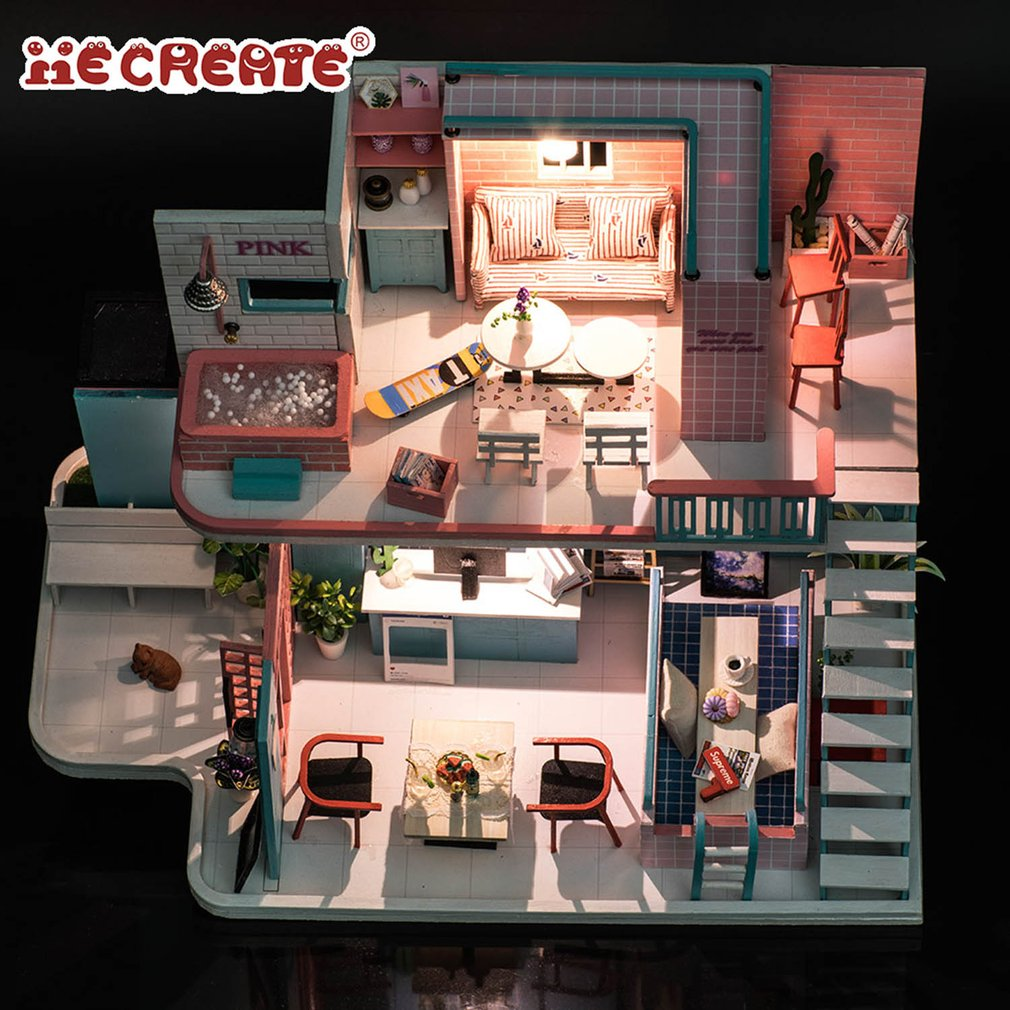 Cute Doll House Furniture Diy Miniature Dust Cover 3D Wooden Miniaturas Dollhouse Toys for Children Christmas Gifts Happy life комплект одежды для девочки котмаркот кофточка штанишки цвет розовый 2802 размер 56