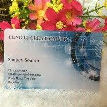 מותאם אישית כרטיסי ביקור מותאם אישית כפור שקוף פלסטיק כרטיס ביקור הדפסת חזק עמיד למים שם/ביקור כרטיס