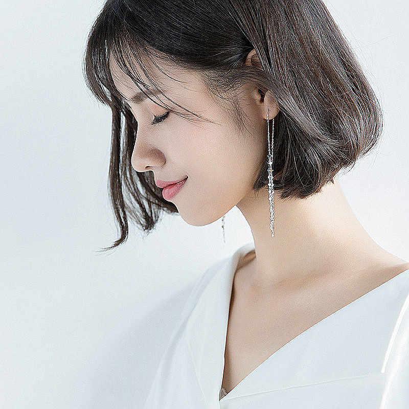 Inzatt Bohemia Elegan 3 Mm Jantung Panjang Rumbai Menjuntai Drop Anting-Anting untuk Wanita Anting-Anting Perak 925 Fashion Perhiasan Hadiah Romantis