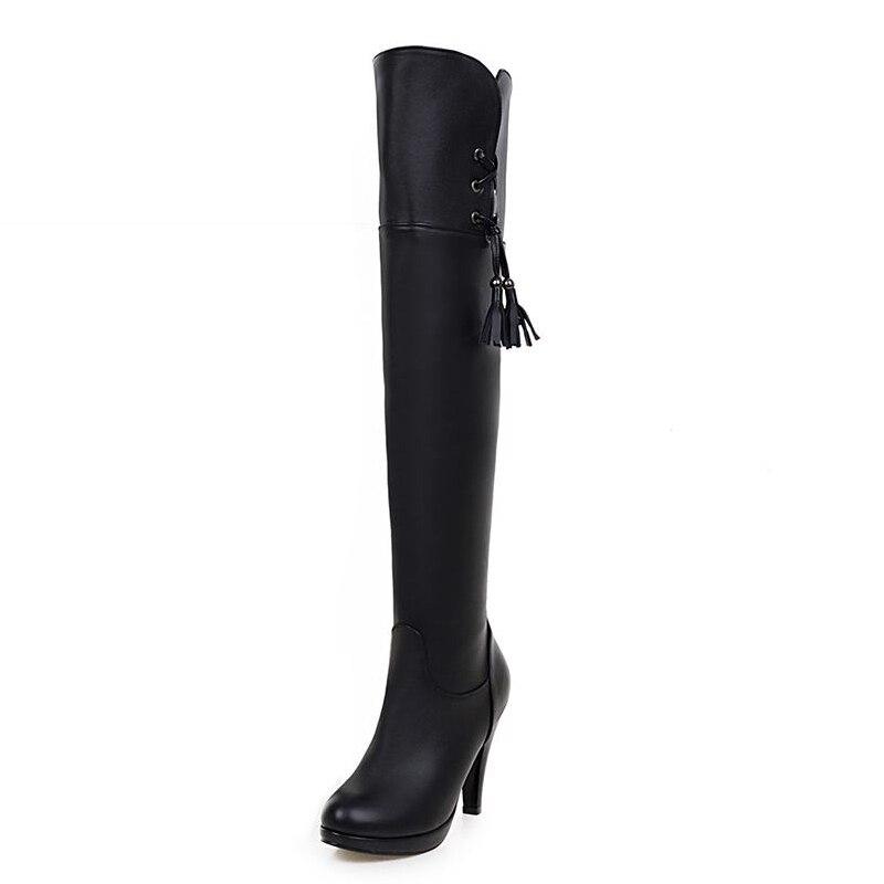 ФОТО Big Size 34-43 Fashion 2017 Female High Heels Thigh High Boots Women Platform Slip On Shoes Woman Add Fur Fall Winter Boots