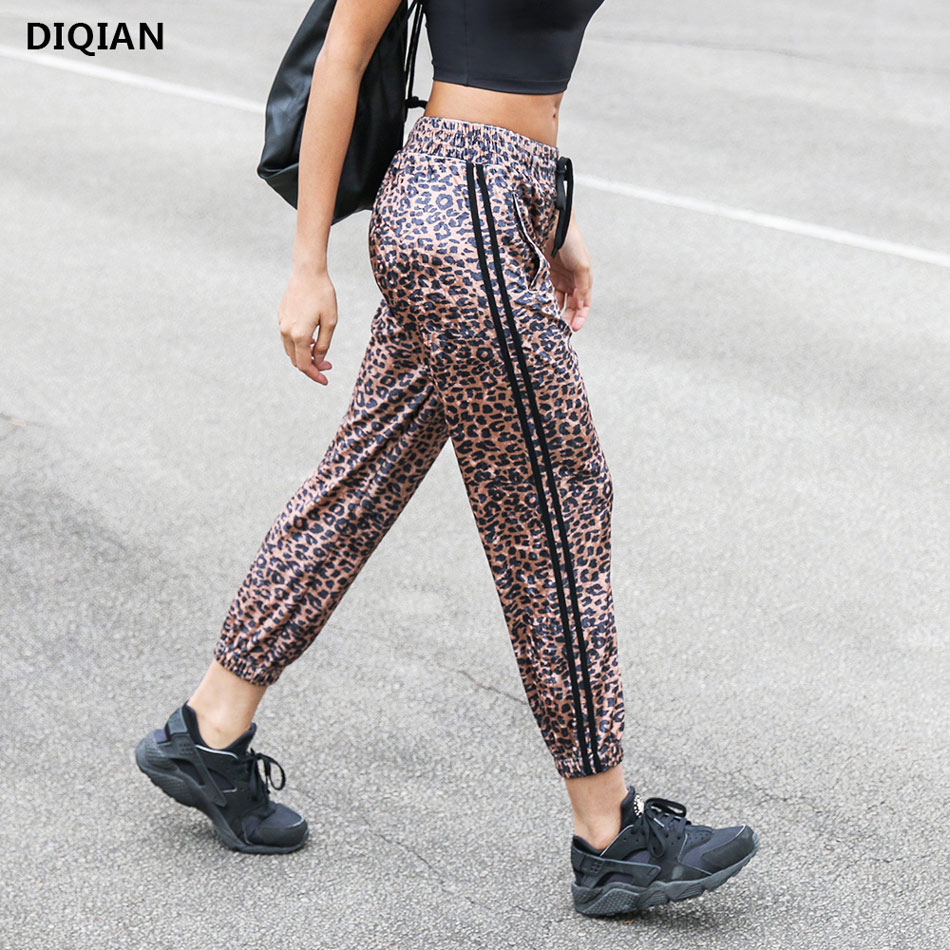 DIQIAN Women Fierce Leopard Printed Velvet Harem Yoga Pants Elastic Waist Sports Trousers Ankle Cropped Workout Running Pants 2017 new jeans women spring pants high waist thin slim elastic waist pencil pants fashion denim trousers 3 color plus size