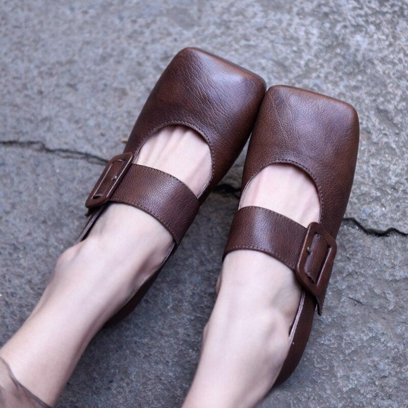 Artmu oryginalny wiosna nowy styl japoński płaskie podeszwy damskie buty plac Toe klamra prawdziwej skóry płytkie usta ręcznie mieszkania w Damskie buty typu flats od Buty na  Grupa 1