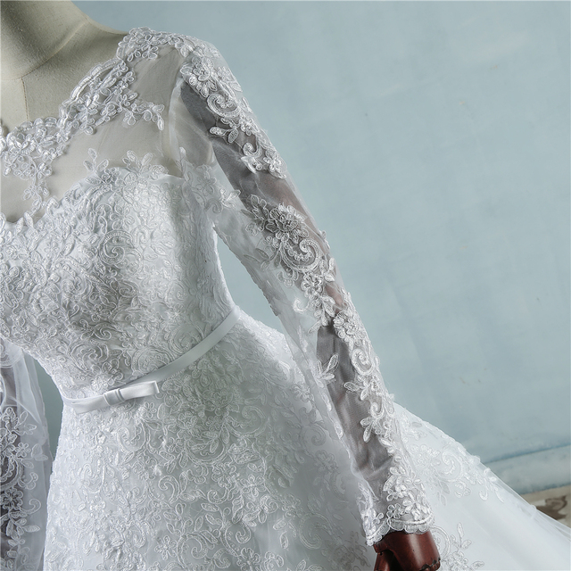 ZJ9065 Corset lace up White Wedding Dresses with lace edge big train long sleeves for brides formal plus size 2 26W