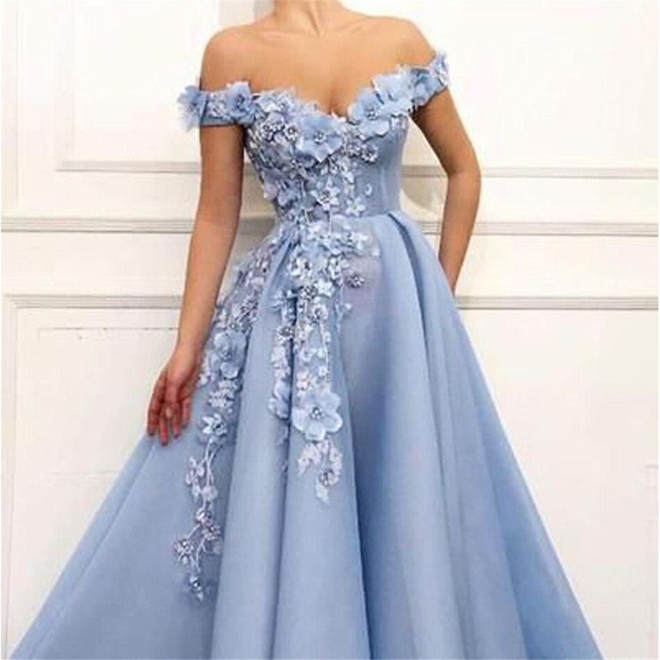 LORIE 2019 robes de bal hors de l'épaule robes de bal fleurs Appliques belle robe de princesse Tulle dos nu robe de soirée - 4