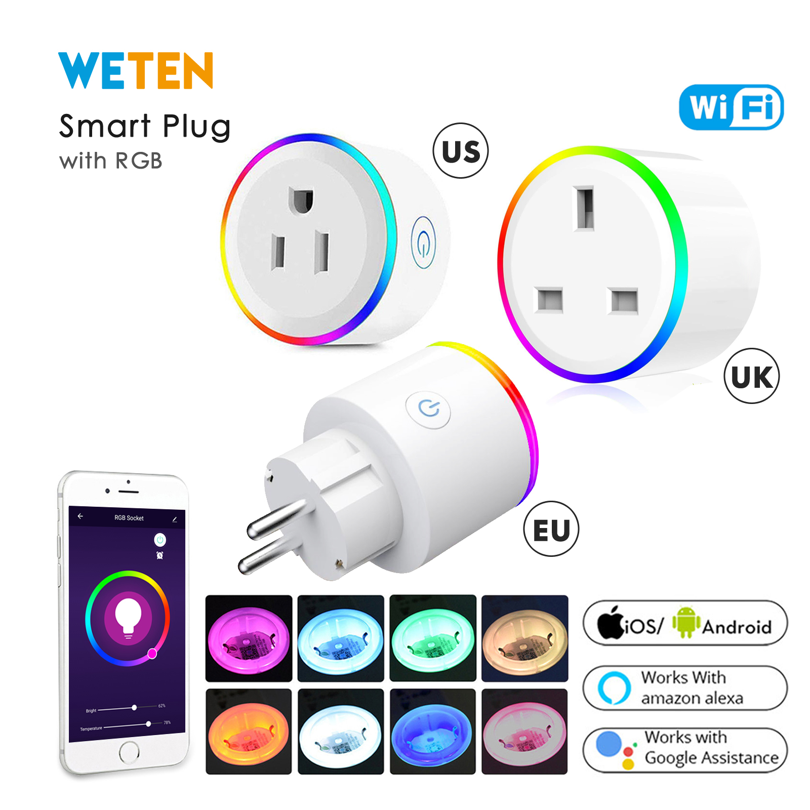 Wifi Smart Power Socket Plug Outlet Switch RGB Light Power Monitor EU UK US 16A Phone App Voice Control with Alexa Google HomeWifi Smart Power Socket Plug Outlet Switch RGB Light Power Monitor EU UK US 16A Phone App Voice Control with Alexa Google Home