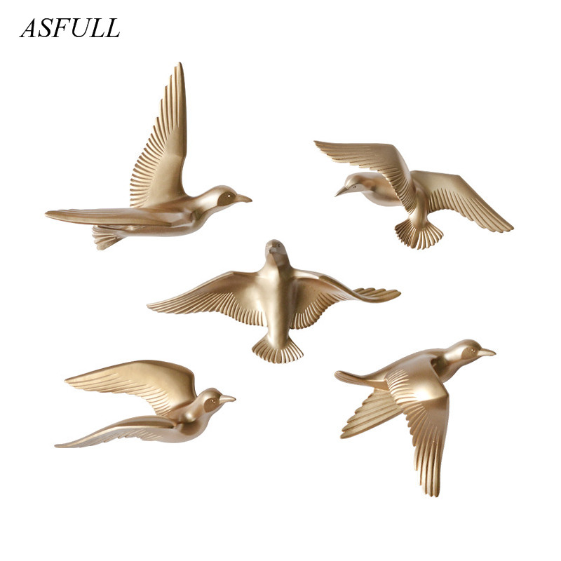 Creative Asfull 3D Resin bird Home Decoration decor wall stickers decoration Furnishings The dove of peace for European mascot