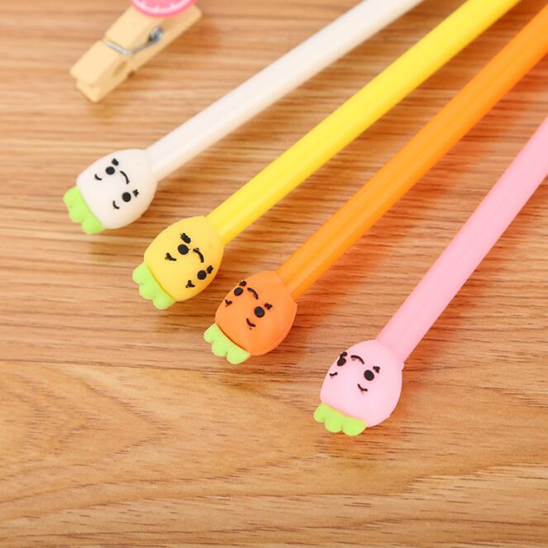 2pc Cartoon Radish Head Expression Gel Pen Cute Student Writing Water-Based Pen Personality Office Supplies Signature Pen