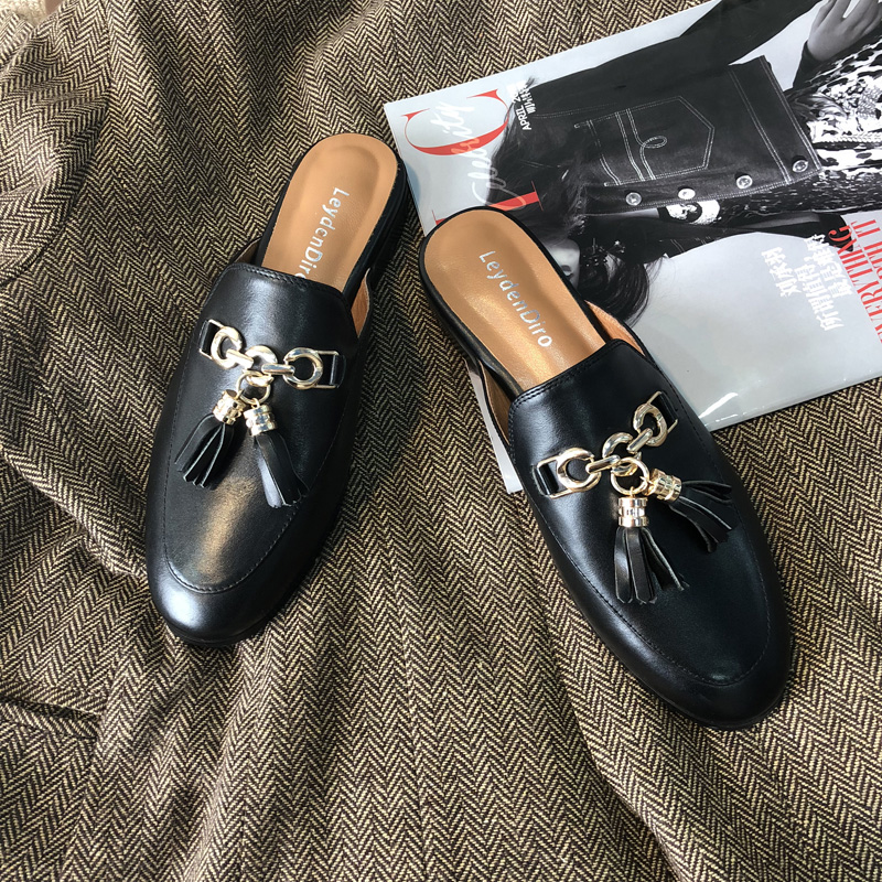 Fringed Baotou semi slippers 2018 new women's shoes, flat bottomed Muller shoes, no later than lazy slippers.