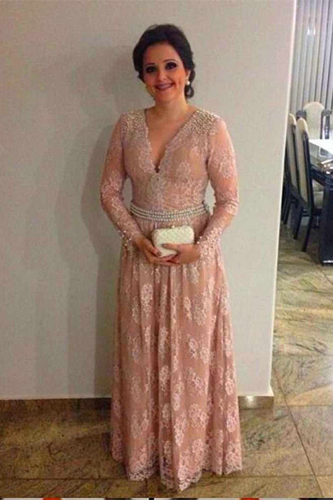 Plus Size 2019 Mother Of The Bride Dresses A Line V Neck Long Sleeves Lace Bead Wedding Party Dress For