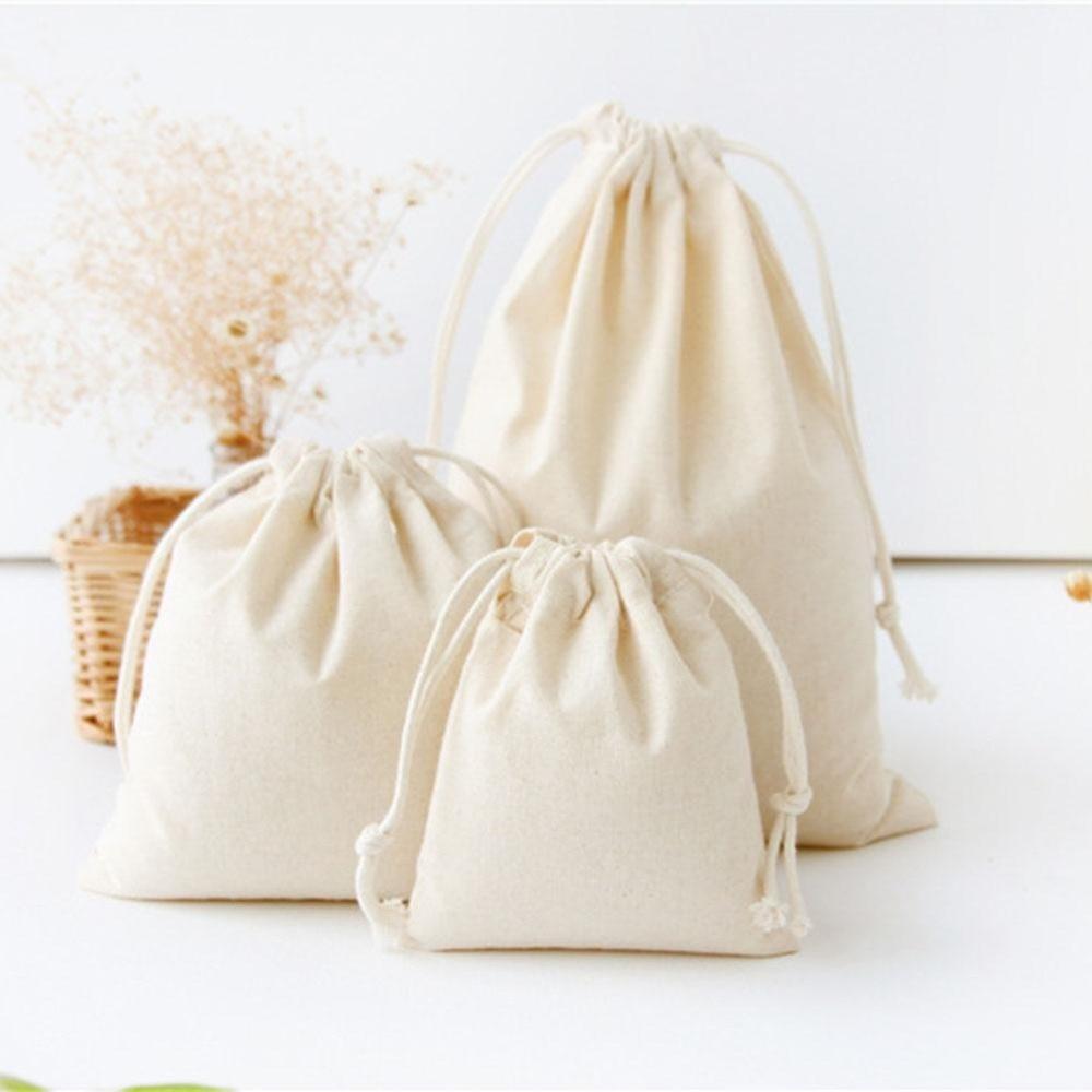 Reusable Cotton Drawstring Shopping Bag Women Men Travel Shopper Tote Storage Bags Support Custom