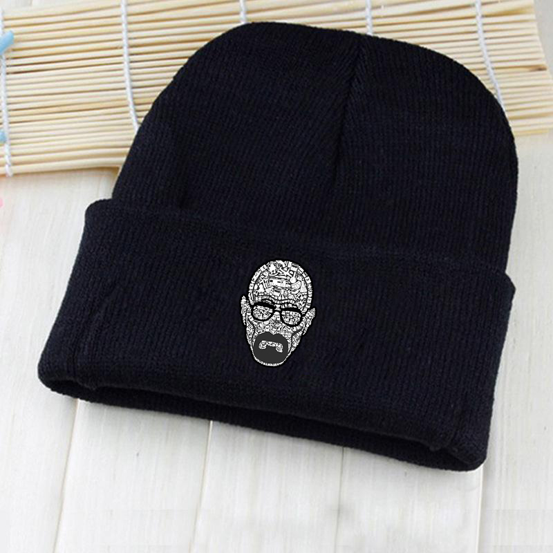Giancomics American TV Serial Breaking Bad Cartoon Characters Logo Winter Beanie Knitted Cotton Hat Costume Unisex Fashion Gifts