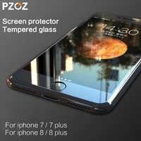 PZOZ para iphone 8 vidrio templado pantalla con borde suave película protectora 3D cubierta completa Anti luz azul para iphone 7 Plus 8 4,7 y 5,5