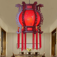 Chinese chandelier solid wood antique palace lamp retro hexagonal palace lamp hotel restaurant red lantern chandelier LW524259PY