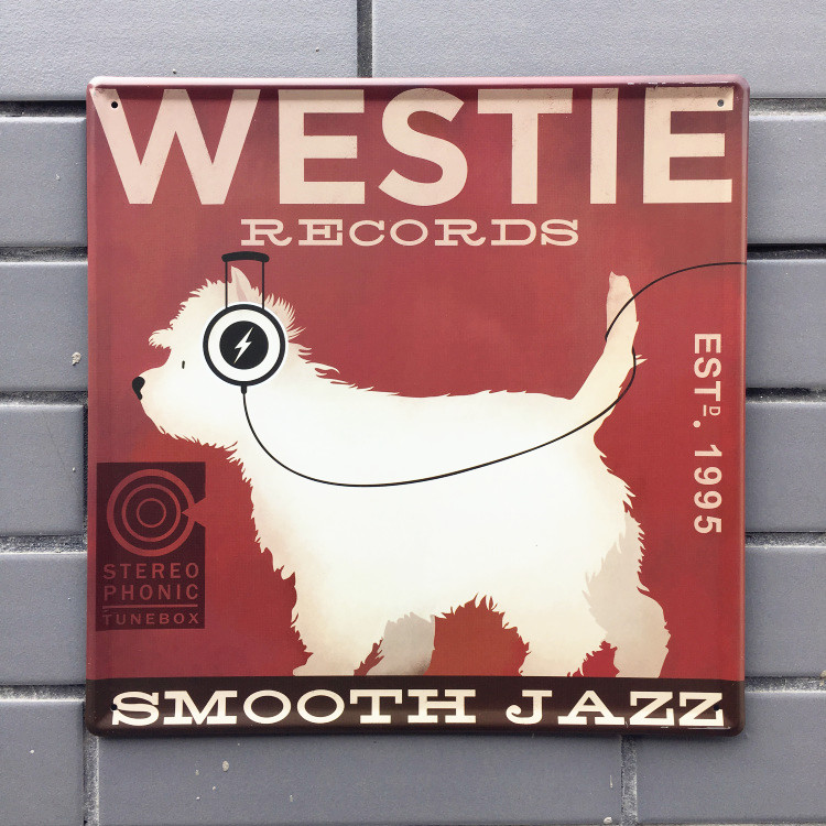 30*30cm Westie Records Vintage Metal Signs Wall Stickers Plates Bar Pub Home Wall Decor Painting PET Dog Decoration Tools N141
