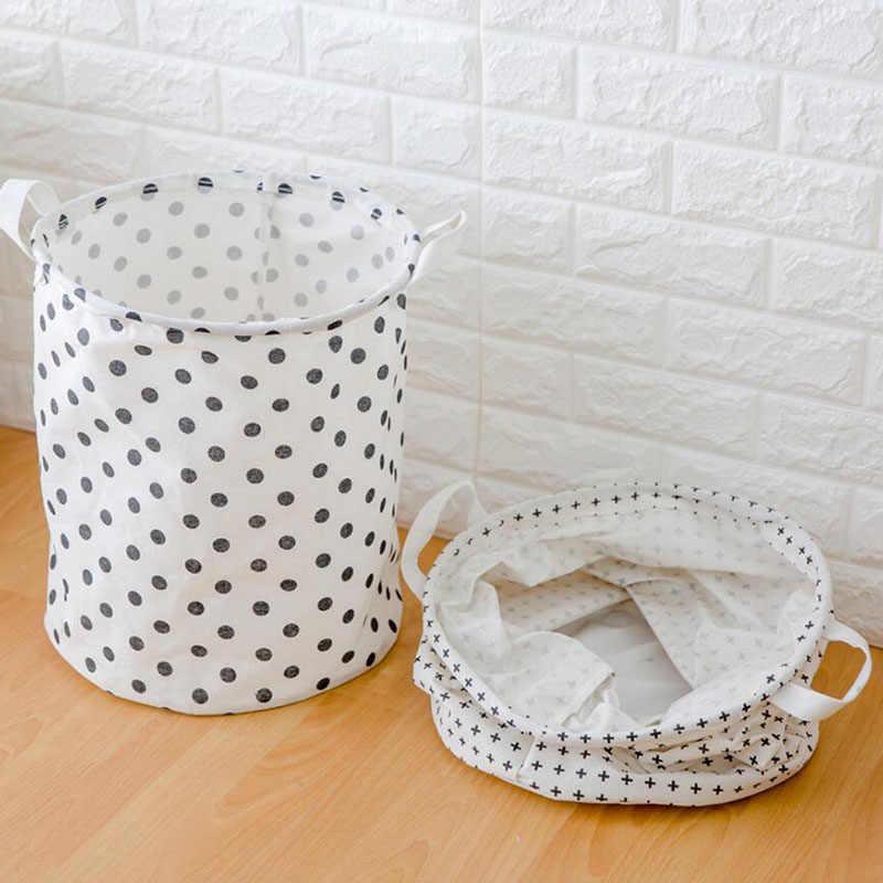 Simple White Dots Design Dobrável Cesto de Roupa suja, Lençóis de algodão Bonita Brinquedos Sundries Caixa de Armazenamento Organizador Titular