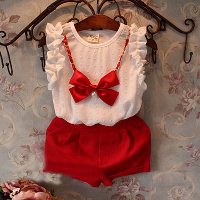 Mother & Kids Cute Children Princess Clothing Casual Baby Girls Chiffon Tops Blouse Shirt Bow Necklace Pants Outfits Set 0-5t