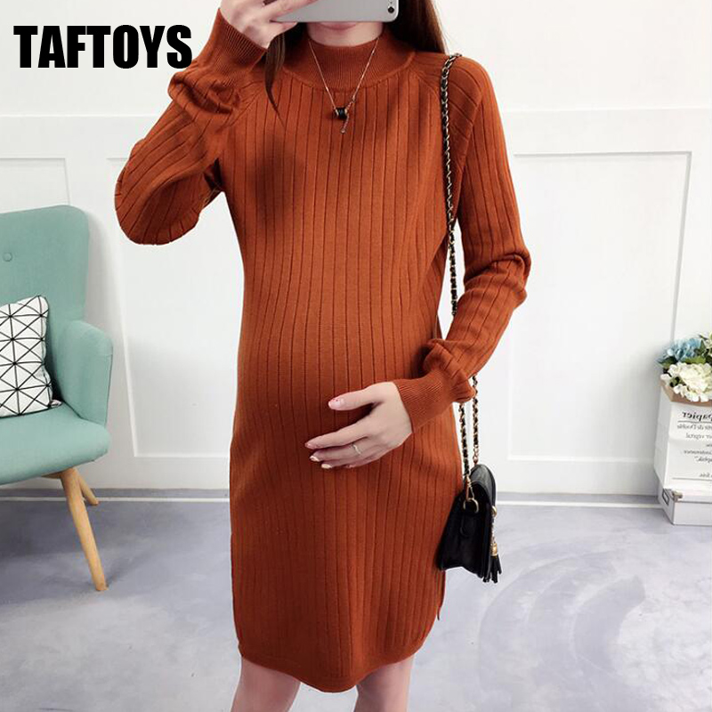 Elegant Bodycon Elastic Maxi Long Dress For Pregnant Women New Autumn Winter Knitted Maternity Sweater Dress Maternity Clothes ilismaba new ladies fashion sexy autumn long sleeved brand dresses high quality printed knitted elastic fabric women s dress