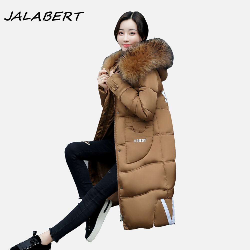 2017 new autumn winter cotton women's hooded Slim long thick big fur collar warm jacket female pocket brown pattern parkas coat 2017 new women autumn winter thick warm long cotton paded coat female jacket fur hooded collar slim windbreaker ladies coats