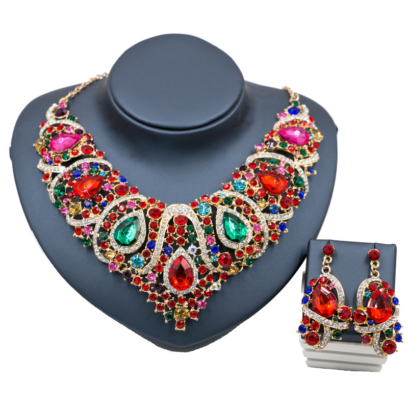 Retro Vintage Fashion Bohemia Mix Color Gold Silver Plated Crystal Necklace Earrings Bridal Jewelry Sets For Women Wedding Party