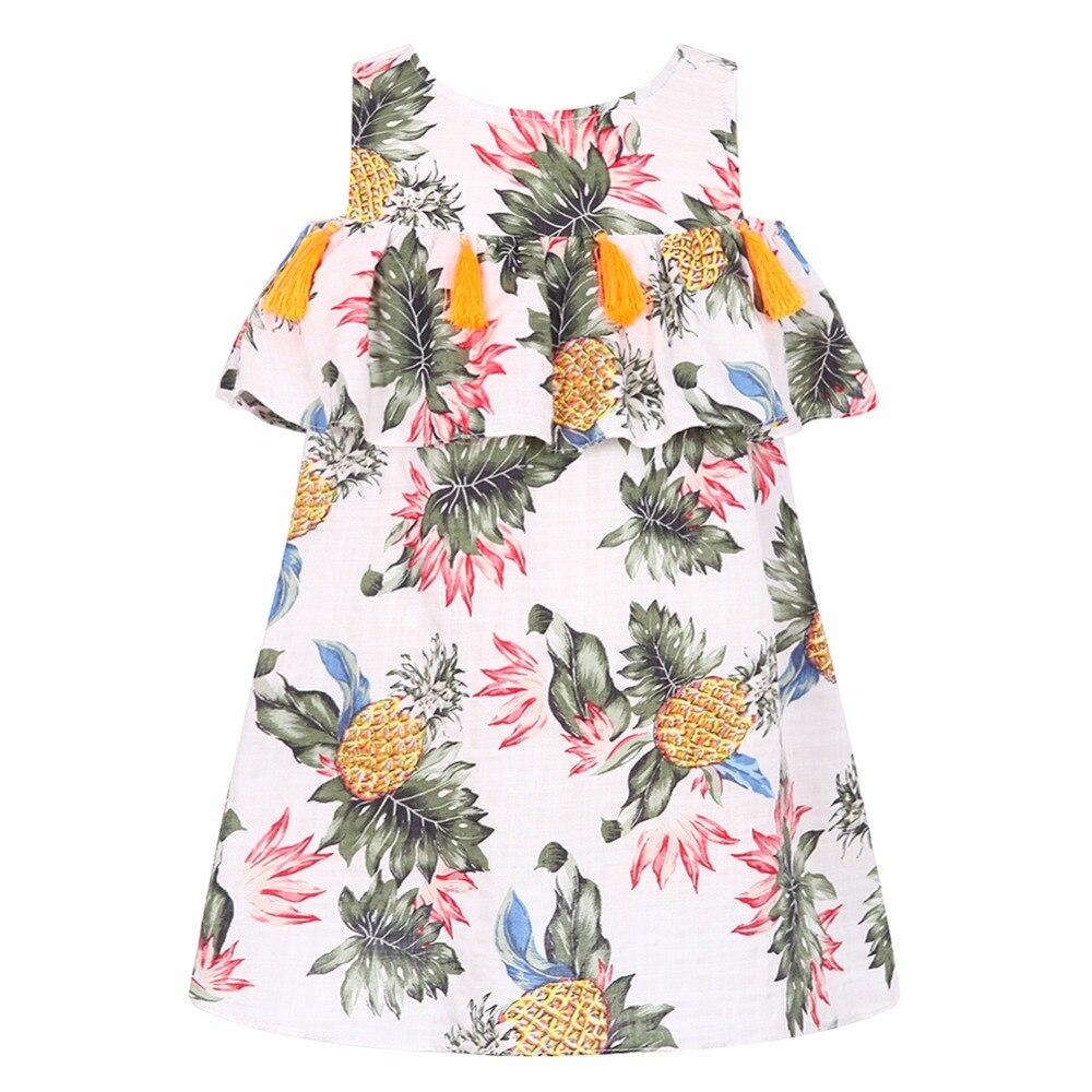 Bébé filles Robe avec gland 2018 été enfants robes pour filles Costumes banane ananas imprimer princesse Robe fille Robe Enfant