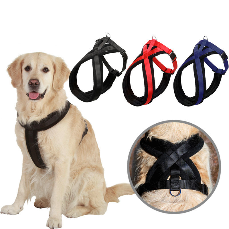 Dourable Medium extra large big dog nylon vest harness pitbull golden retriever harness dog Suspenders collar Chest Straps belt