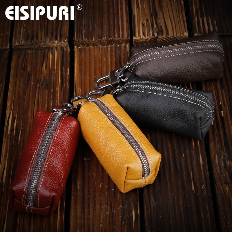 EISIPURI Genuine Leather Key Case Pouch Women Keychain Magnetic Buckle Key Case Bag Men Key Holder Housekeeper Keys Organizer