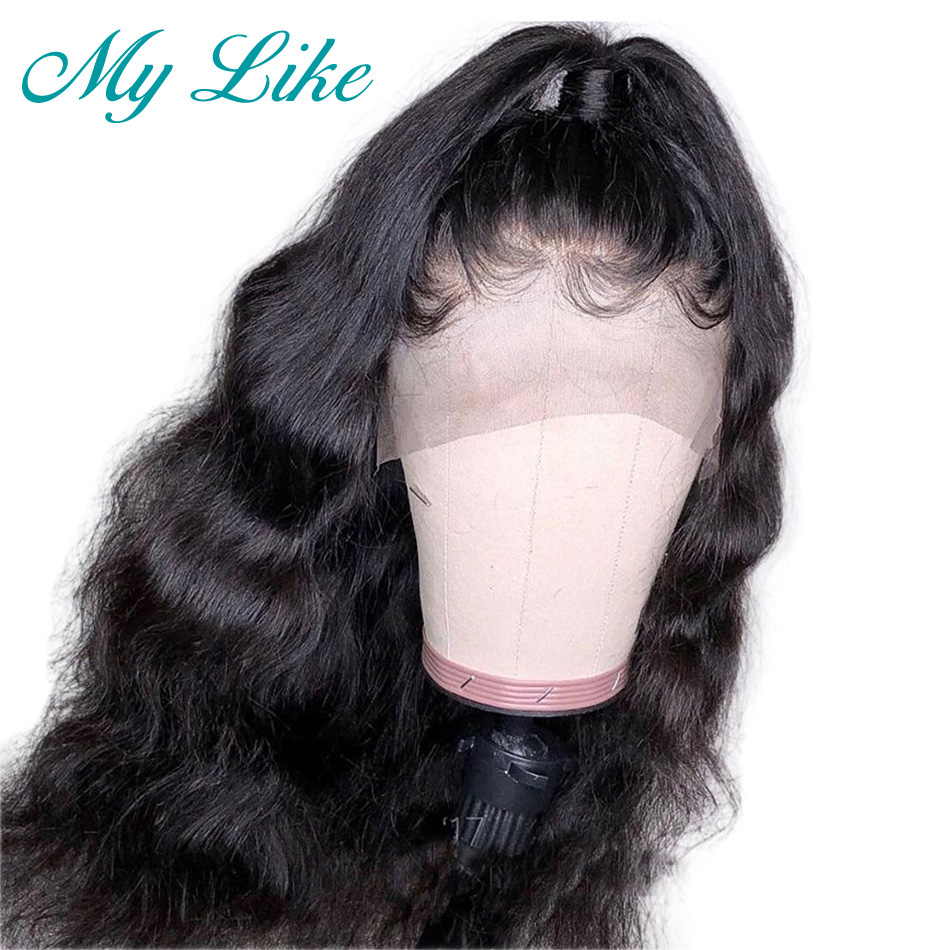 My Like Transparent Full Lace Wig Body Wave Glueless Full Lace Human Hair Wigs Pre Plucked with Baby Hair Brazilian Remy Hair(China)