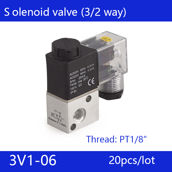 20pcs free shipping good quality 3 port 2 position Solenoid Valve 3V1-06,have DC24v,DC12V,AC24V,AC110V,AC220V, 20pcs free shipping good quality 5 port 2 position solenoid valve 4v310 10quality have dc24v dc12v ac24v ac110v ac220v