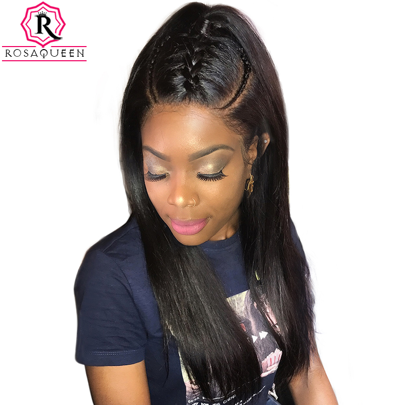 360 Lace Frontal Wigs 180% Density Silk Straight Brazilian Remy Hair 100% Human Hair Wigs Natural Black Color 360 Lace Wig