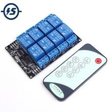 ИК приемник 12 В, 8 каналов, инфракрасный приемник, модуль задержки реле вождения + 9 клавиш, ИК пульт дистанционного управления, передатчик, самоблокирующийся контроллер
